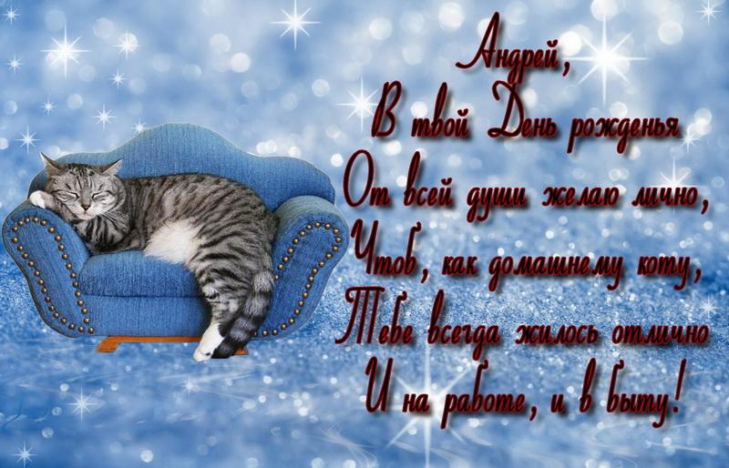 Открытка - кот на диване на блестящем сиреневом фоне