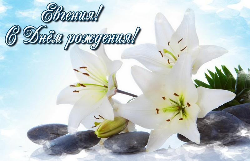 Открытка с белыми цветами для Евгении