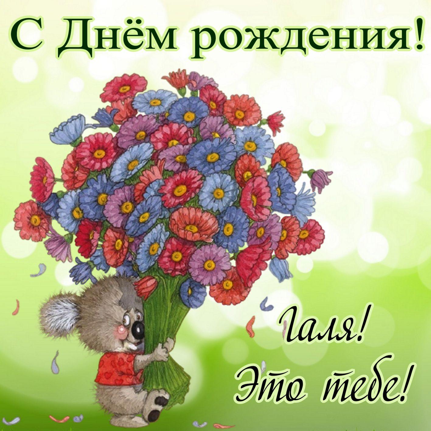 Медвежонок с огромным букетом цветов для Гали