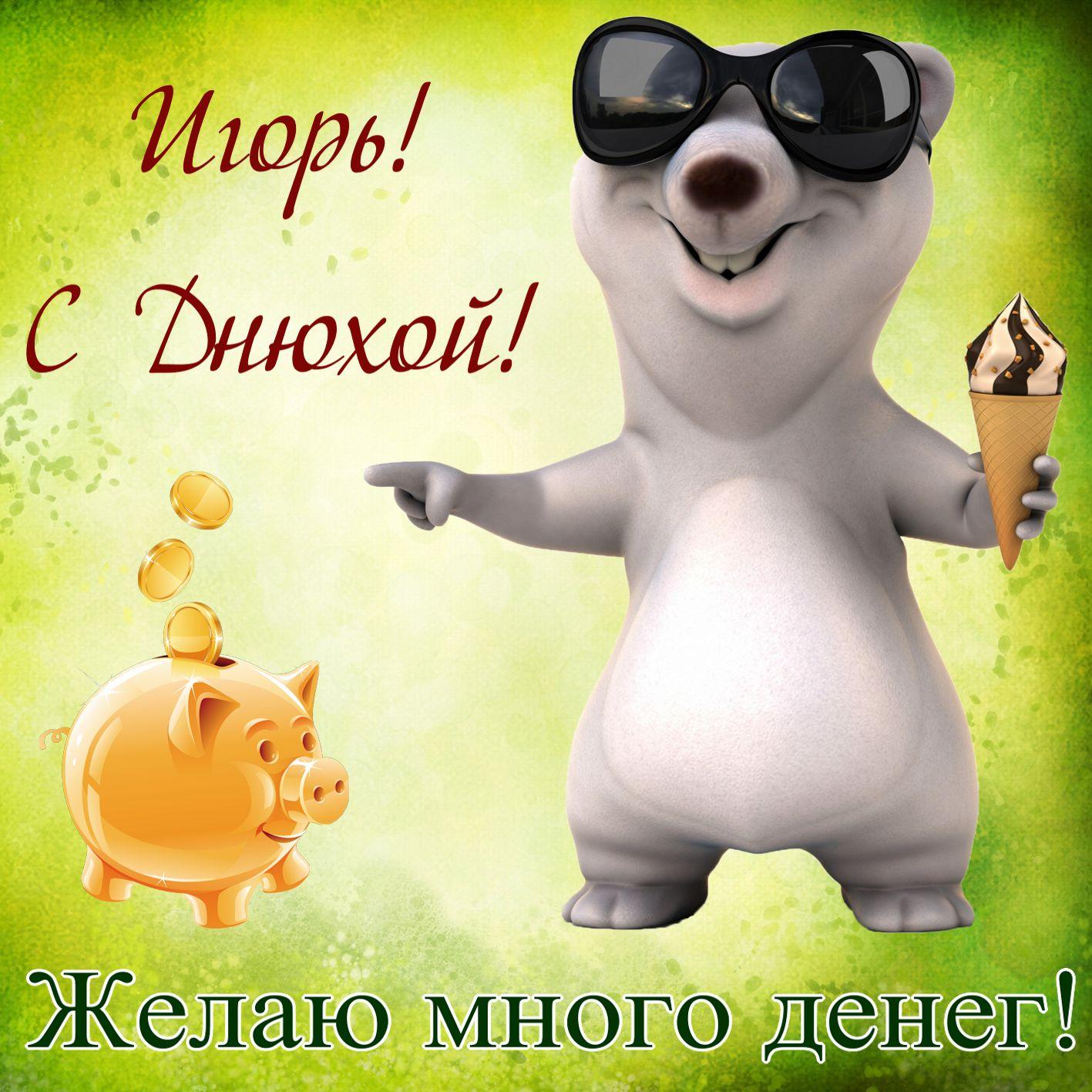 Открытка - желаю много денег Игорю на День рождения