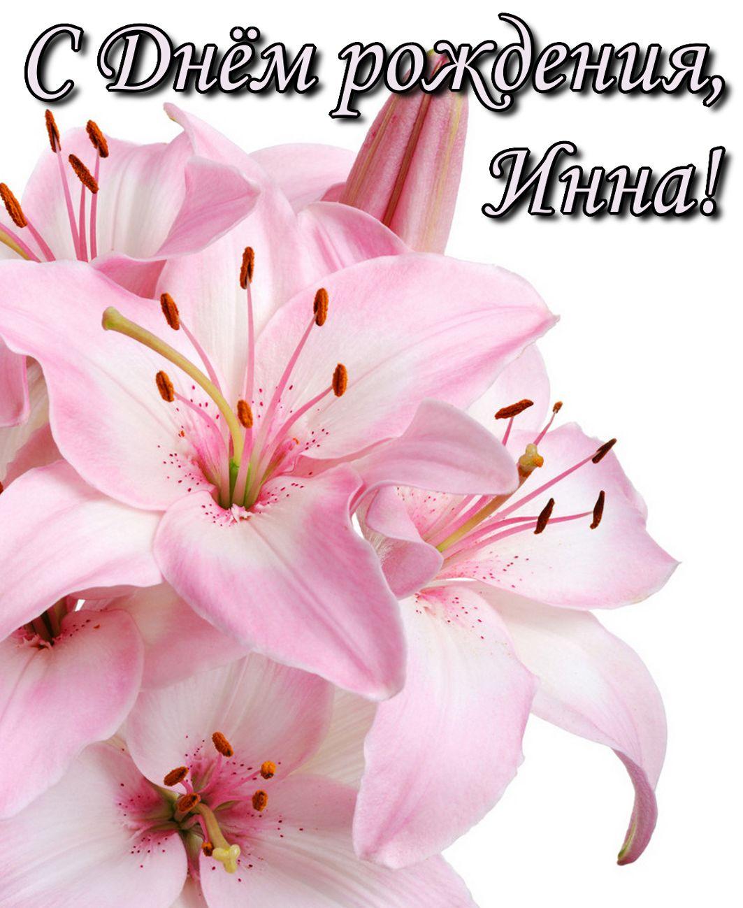 Открытка с цветком на День рождения Инне