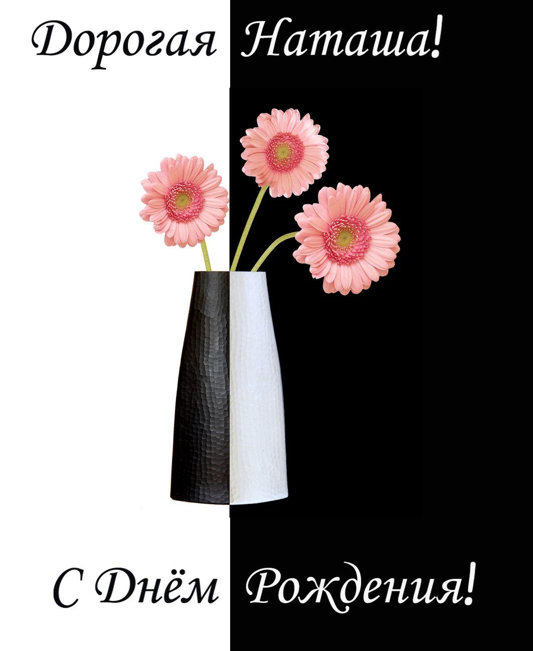 открытка - цветы в вазе на контрастном черно-белом фоне