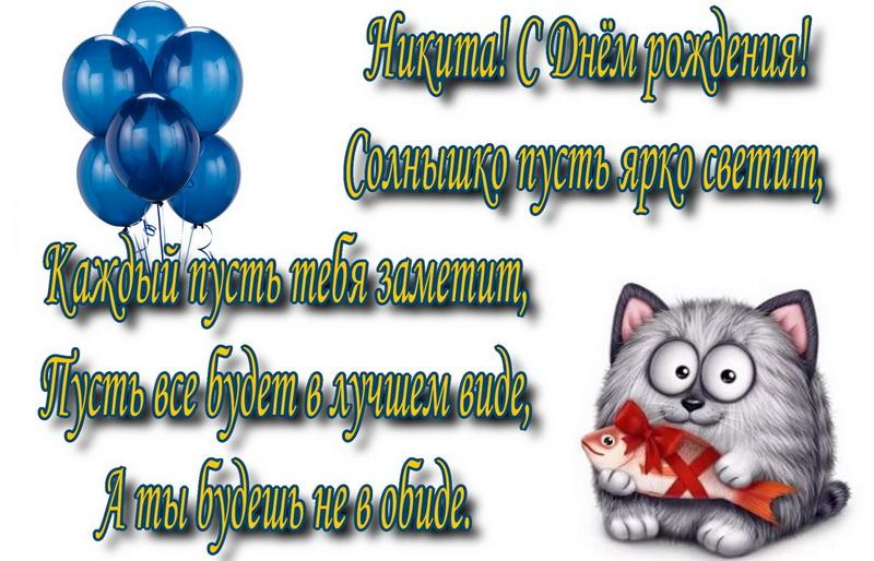 открытка - прикольный кот с рыбкой для Никиты