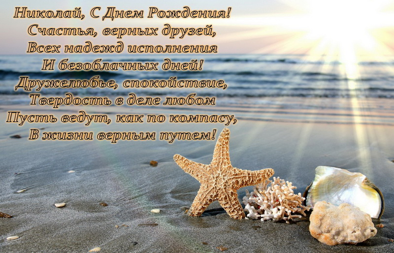 Поздравление Николаю на фоне берега моря