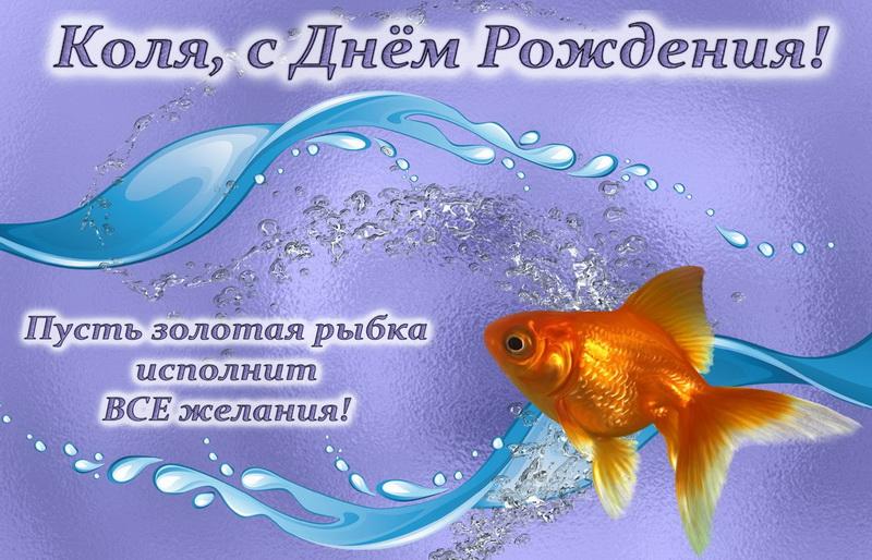открытка - золотая рыбка Коле на День Рождения