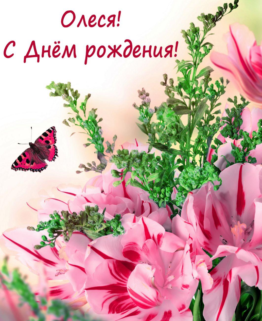 Открытка с красивыми цветами и бабочкой