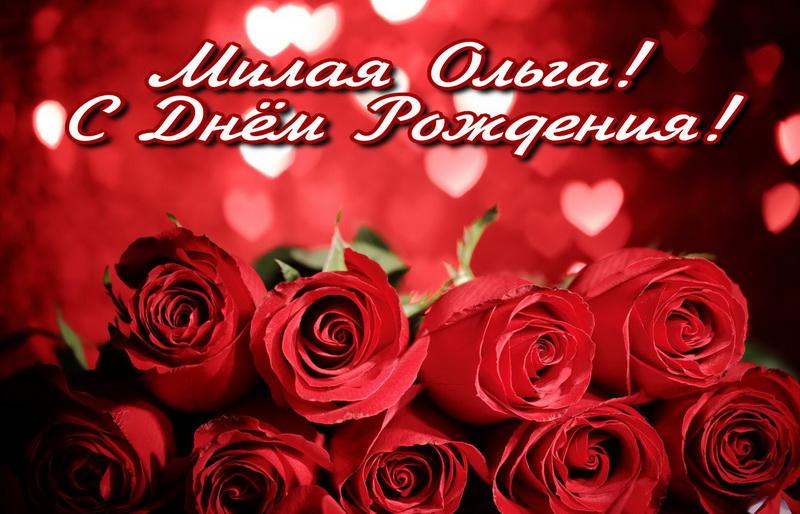 Красные розы милой Ольге на День Рождения