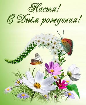 Бабочки на полевых цветах на День Рождения Насте
