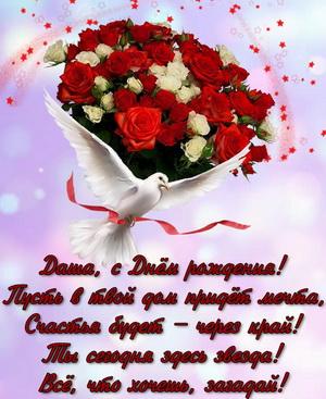 Букет роз и голубь на День Рождения Даше