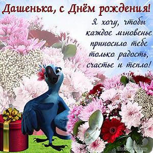 Открытка с попугаем и цветами Дашеньке на День рождения