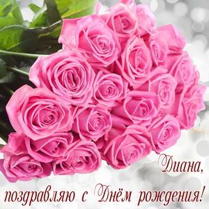 Огромный букет розовых роз для Дианы
