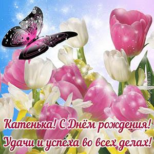 Открытка с бабочкой и тюльпанами Катеньке на День рождения