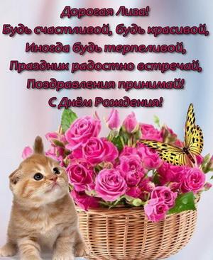 Открытка с котиком и корзиной цветов