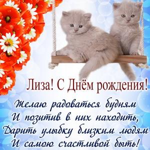 Открытка с котятами и пожеланием для Лизы