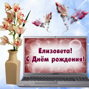 Картинка с ноутбуком и цветком в вазе