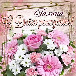 Открытка с нежными цветочками Галине на День рождения