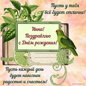 Оригинальная открытка с попугаем и пожеланием Инне