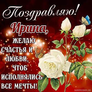 Открытка с белой розой, бабочками и пожеланием Ирине