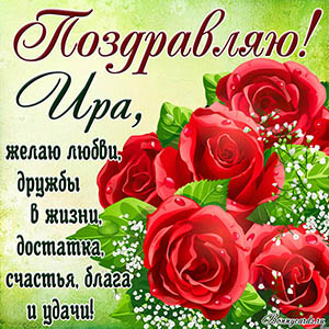 Картинка поздравляю с яркими красными цветами Ире