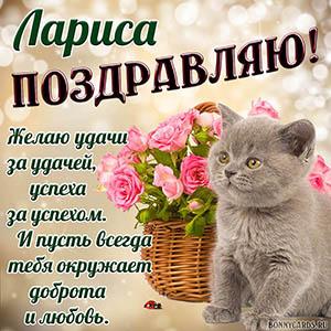 Открытка с котёнком и цветами Ларисе на День рождения