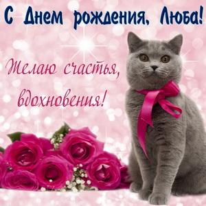Красивый серый котик с алым бантиком