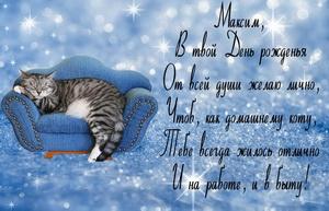 Пожелание Максиму от кота на диване.