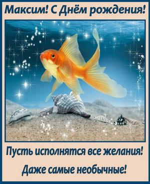 Золотая рыбка желает Максиму исполнения всех желаний
