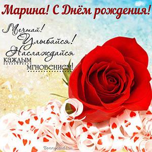 Картинка Марине на День рождения с красной розой