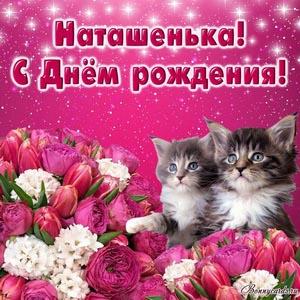 Картинка с цветами и котятами на День рождения Наташеньке