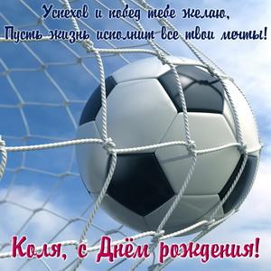 Футбольный мяч в сетке и пожелание на День рождения Коле