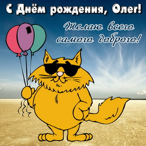 Открытка Олегу на День рождения с котом и шариками