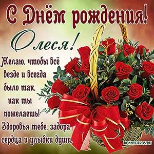 Красивая открытка с Днём рождения Олесе с розами