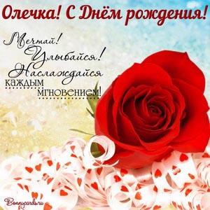 Открытка с розой и милым пожеланием Олечке на День рождения