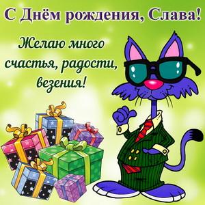 Открытка Славе на День рождения с подарками и смешным котом