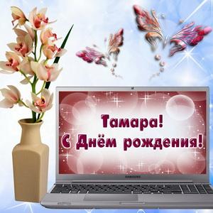 Картинка с цветком в вазе и ноутбуком