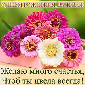 Пожелание и цветы на День рождения Валерии