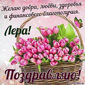 Доброе поздравление Лере с тюльпанами в корзинке