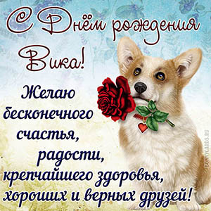 Собачка с красной розой поздравляет Вику с Днём рождения