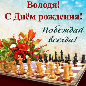Открытка с шахматами и букетом Володе к Дню рождения