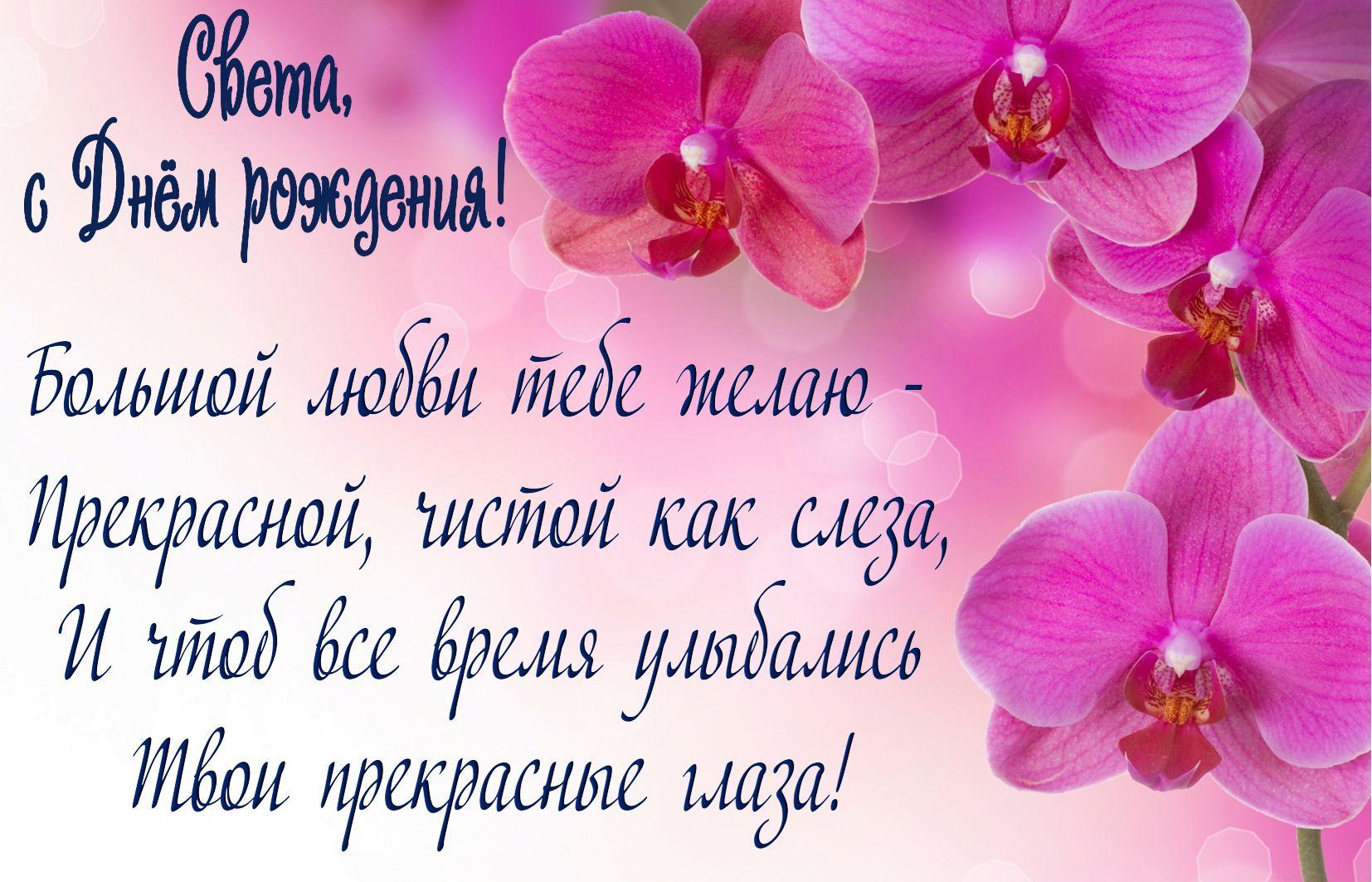 Розовые цветы и пожелание для Светы