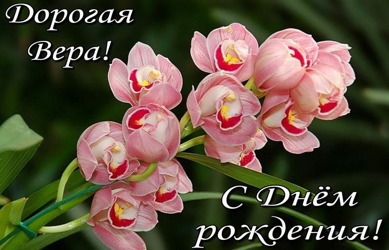 Открытка с большим цветком для дорогой Веры