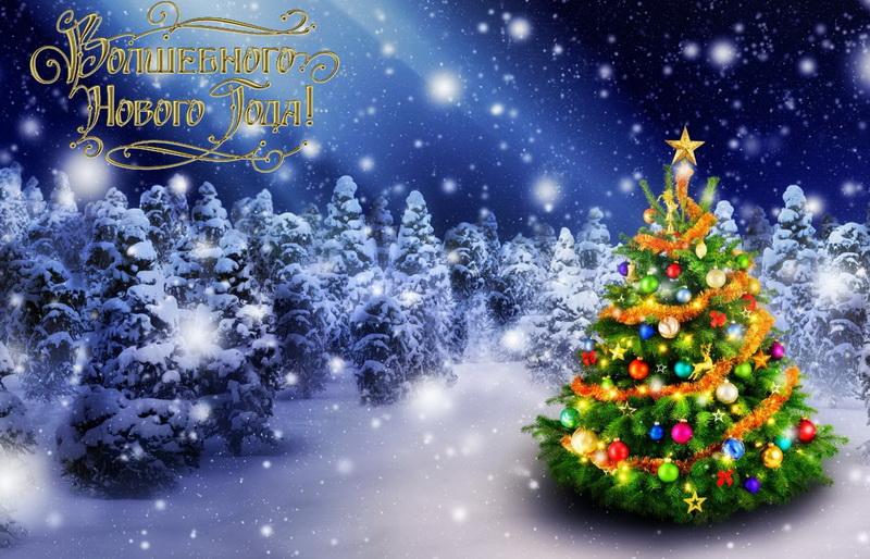 С новым годом, елка в зимнем лесу, снег
