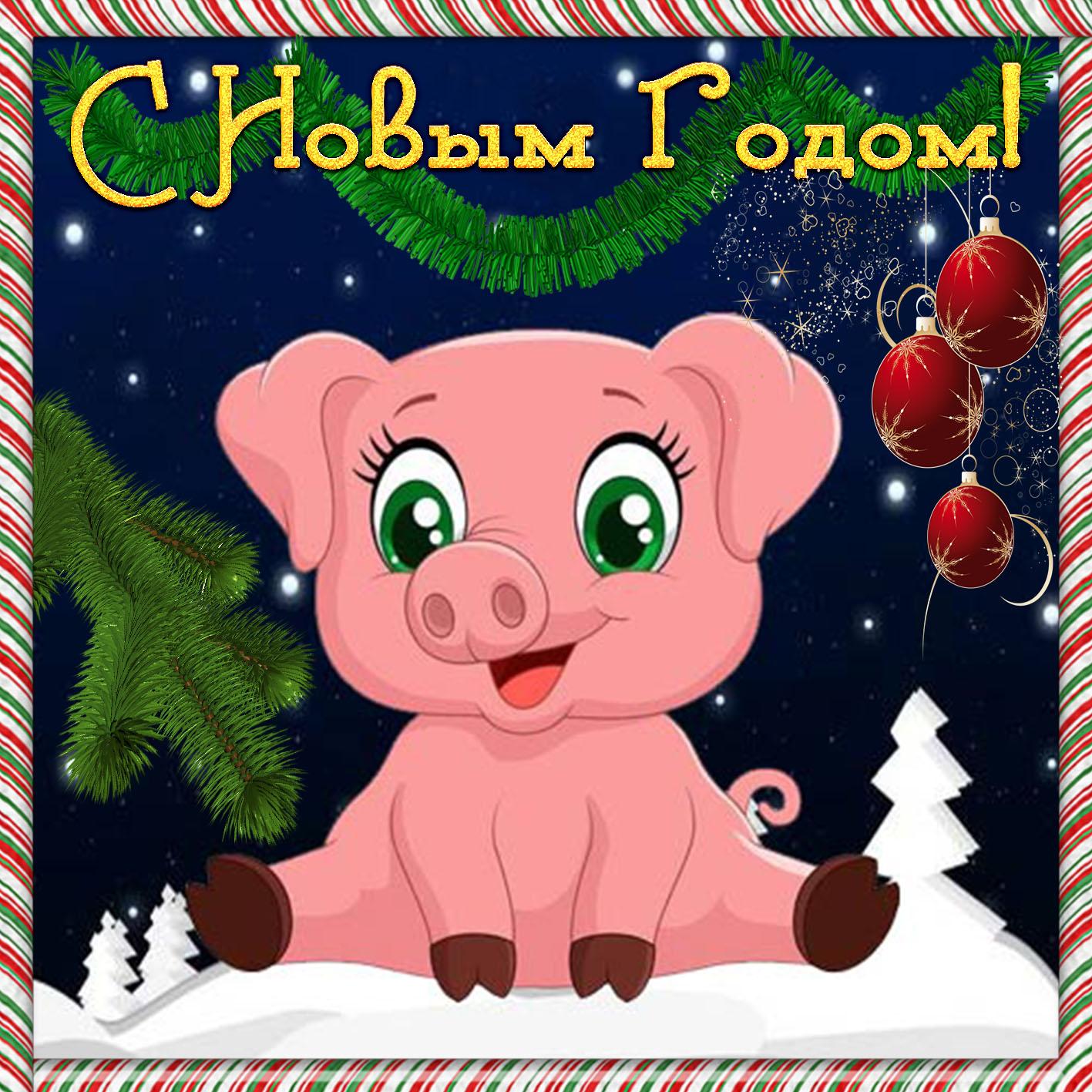 Открытка с Новым годом - симпатичная свинья в пёстрой рамочке