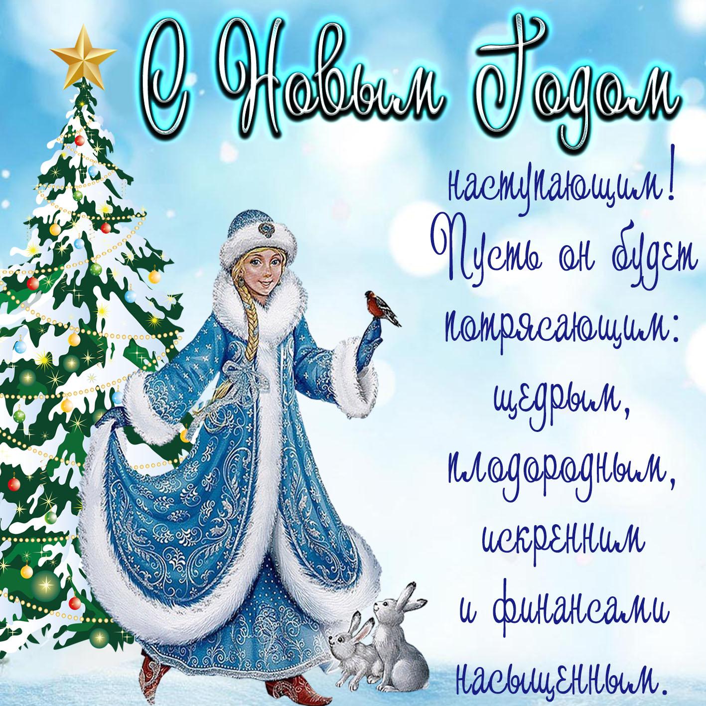 Картинка со снегурочкой и красивым пожеланием на Новый год