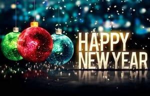 Happy New Year, разноцветные елочные шары