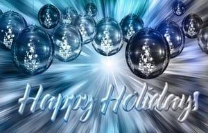 Поздравление Happy Holiday, абстрактные елочные шары
