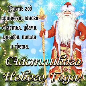 Пожелание счастливого Нового года с Дедом Морозом