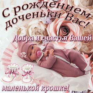 Красивое поздравление с рождением доченьки на фоне роз