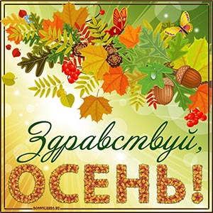 Красивая картинка с надписью здравствуй, осень