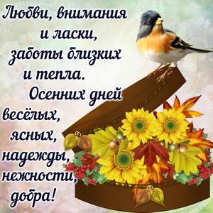 Красивая картинка с птичкой и осенними цветами